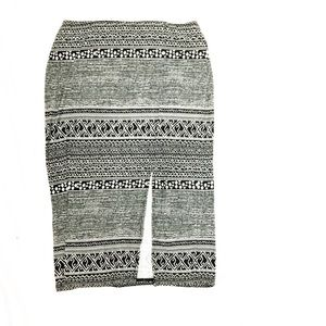 BCBGeneration Black & White Tribal Stretch Skirt